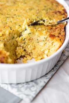 Sweet Autumn Cornbread & Vermont Cheddar Casserole with Fresh Chives | thecozyapron.com