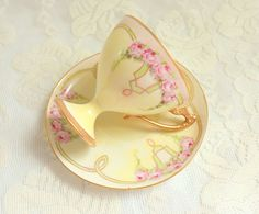 Antique Limoges Porcelain Yellow Hand Painted Rose Demitasse Chocolate Coffee Cup France