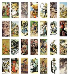 Alice in Wonderland Sheet of images great for craft or jewellery