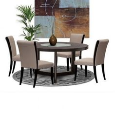 Dining Table with Lazy Susan & Leather Taupe Chair Set Ikea Dining Table, Round Dining Table Modern, Glass Dining Room Table, Kitchen Dining Sets, Wooden Dining Tables, Dining Chairs, Dining Area, Round Kitchen, Small Dining