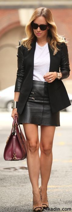 Leather mini skirt + blazer.