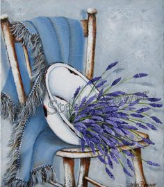 Stella Bruwer white enamel basin with lavender on blue throw on shabby wooden chair Art Floral, Pictures To Paint, Art Pictures, Arte Pallet, Stella Art, Fleurs Diy, Illustration Art, Illustrations, Beautiful Paintings