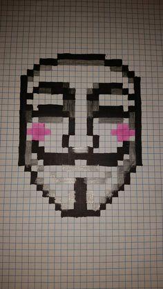 Anonimatus pixel art - Minecraft World Graph Paper Drawings, Graph Paper Art, Art Drawings, Pixel Pattern, Pattern Art, Pixel Art Mickey, Cr7 Jr, Modele Pixel Art, Arte Nerd