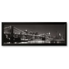 Art.com Brooklyn Bridge and Manhattan Skyline Framed Art Print by... ($175) ❤ liked on Polyvore featuring home, home decor, wall art, multicolor, skyline wall art, black and white framed wall art, nyc wall art, black and white home decor and wooden home decor