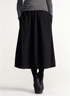 """Eileen Fisher Calf-Length A-Line Skirt in Fine Merino Jersey. Almost exactly like a gray wool jersey skirt designed by Claire McCardell in the 1940s, pictured in the """"Redefining Modernism"""" book. It was worn with a ruched wool jersey tee with a """"Superman"""" hood, another """"McCardellism""""."""