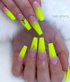 Bright Acrylic Nails, Bright Pink Nails, Matte Pink Nails, Neon Nails, Summer Acrylic Nails, Yellow Nails, Pink Nail Art, Art Nails, Edgy Nails