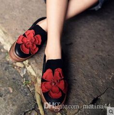 2017 Artmu 2016 Handmade Women Shoes New Mori Girl Red Flower Autumn Thick Soled Platform Shoes Jurchen Leather Casual Shoes From Matina44, $130.66 | Dhgate.Com