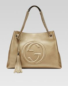 Soho Metallic Leather Tote Bag, Champagne by Gucci at Neiman Marcus.