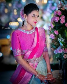Gorgeousness 💕 Stunning Bride in Pink saree blouse design Half Saree Designs, Saree Blouse Neck Designs, Fancy Blouse Designs, Bridal Blouse Designs, Lehenga Designs, Blouse Patterns, Dress Paterns, Pink Saree Blouse, Saree Dress