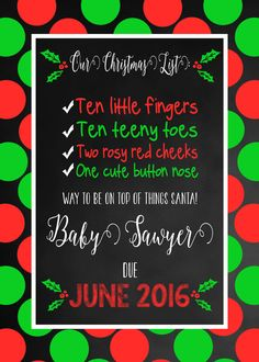 Christmas Pregnancy Announcement Baby Announcement by CLaceyDesign
