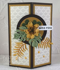 Decorative Corner Card Fold Video using Stampin' Up! Botanical Blooms and Botanical Builder Framelits Dies along with Going Places Designer Paper. Debbie Henderson, Debbie's Designs.Decorative Corner Card Fold