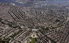 An aerial photo of the city centre of Amsterdam