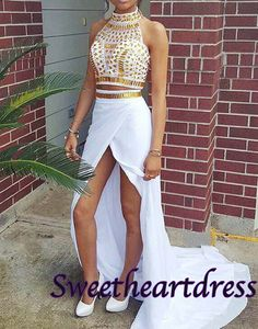 Unique design long prom dress with slit, high neck white chiffon two pieces dress for teens #coniefox #2016prom