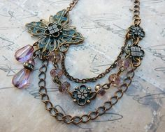 Copper  Pink Blush  Asymmetrical Boho Layer  by lunarbelle on Etsy