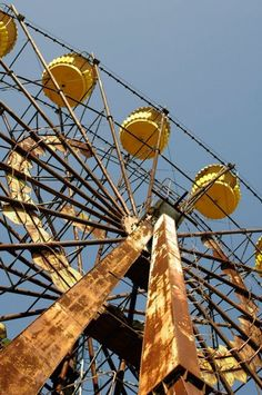 Old, abandoned ferris wheel