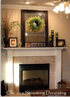 Mantel Decorating Ideas Decorating Ideas Great Living Room Design Ideas Using Easter Wreath Fireplace Mantel Decoration Including Ceiling Fan With Lamp And Cream Florida Tile Fireplace Surround Amazing Fireplace Mantel Decor Fireplace Surrounds, Fireplace Design, Fireplace Ideas, Brick Fireplaces, Fireplace Moulding, Fireplace Makeovers, Fall Fireplace, Fireplace Mantles, Fireplace Mirror