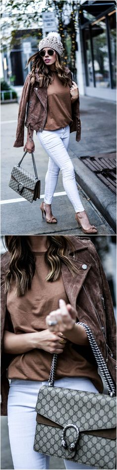 Tiffany Jais the Houston Style blogger of Flaunt and Center wearing caramel hues, a Blank NYC suede moto jacket with an ASOS top, steve madden token heels, white skinny jeans, and a Gucci Dionysus bag | what's trending in women's fashion | Click to read more