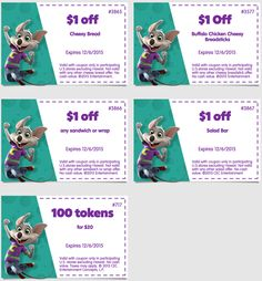 These Chuck E Cheese's coupons are good until December 6, 2015.