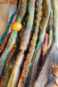 Custom Order Tie-Dye Multi Color Wool Dreads with X-Cross Wrap & Beads Bohemian Hippie Dreadlocks Tribal Falls Synthetic Boho Extensions. 75.00, via Etsy.