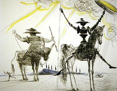 PIctured above, a lithograph from the 1957 edition of Don Quixote, illustrated by Salvador Dali (1904-1989) 'To much sanity may be madness. ...