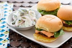 Lamb & Beef Sliders with Harissa-Labneh Sauce & Cucumber Salad. Visit http://www.blueapron.com/ to receive the ingredients.