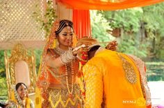 indian-guyanese-hindu-wedding-nynjphotos-31, frontier raas, indian wedding, orange lehenga, yellow lehenga, bridal lehenga