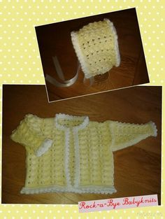 Set comprises edge to edge jacket and bonnet to fit 0-3 months. Rock-a-Bye Babyknits