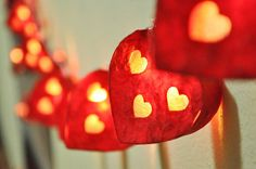 Wedding Bedroom, Lantern String Lights, Paper Hearts, Paper Lanterns, Light Decorations, Garland, Awesome, Unique Jewelry, Handmade Gifts