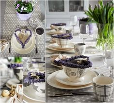 Spring tablesetting in lilac and grey and decorated with lilac tulips and lavender. For more pictures, please visit my interior blog: http://anettewillemine.com/
