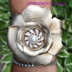 New leather flower cuff!