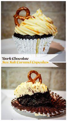 Dark Chocolate Sea Salt Caramel Cupcakes... These are my favorite cupcakes EVER! #cupcakes #darkchocolate #caramel #baking