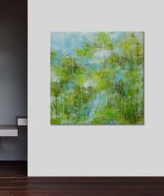 Elena'sArtStudio 40x40 green blue abstract by ElenasArtStudio, $369.00