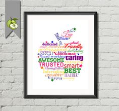 Word art apple  Thank you Apple Teacher by TheArtyApples on Etsy