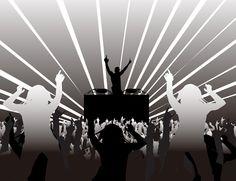 [フリーイラスト素材] イラスト, 人物, 集団 / グループ, 人物 (シルエット), 踊る / ダンス, ディスコ / クラブ, DJ / ディスクジョッキー, 音楽, 灰色 / グレー ID:201311131900