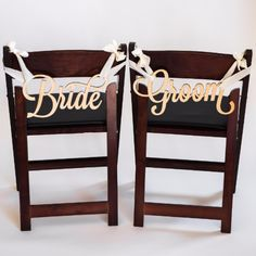 Bride & Groom Wedding Chair Signs