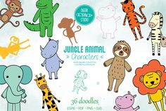 Scene Creator, Jungle Animals, Journal Cards, Vector Graphics, Animal Drawings, Graphic Illustration, Design Bundles, Coloring Pages