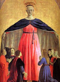 Piero della Francesca - Sansepolcro (Pinacotecca Communale):  Central detail from the painted polyptych of the Madonna della Misericordia Pinacotecca Comunale, Sansepolcro.