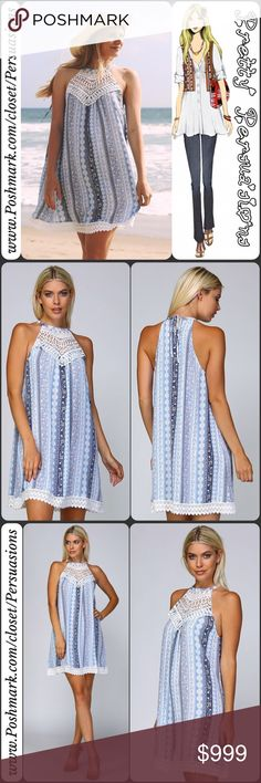"""LAST 1 SALE🌻 Crochet Appliqué A-Line Tank Dress NWT Boho Crochet Appliqué A-Line Dress  Available in sizes M, L Measurements taken from a size small  Length: 34"""" Bust: 36"""" Waist: 46""""  Features  • cotton lace crochet appliqué at bust • cotton lace crochet trim at bottom hem • woven, lightweight, soft & breathable material • all over stripe & floral print • a-line • sleeveless • relaxed fit • ties at back of neck • split/keyhole accent at back of neck  Bundle discounts available No pp or…"""