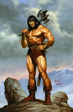 7/25/14  5:46a  Conan of Cimmeria   Mammoth Warrior on Rock Cliff with DBL  Axe Sword  Bare Solid Chest and Muscled Legs by Jusko (after Buscema) Comic Art