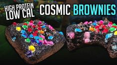 "Add to favoritesProtein Cosmic Brownies Macros for Each Protein Cosmic Brownie: 55.75 Cals, 4.25g Carbs, 1.75g Fat, 5.75g Protein, 1.5g Sugar Ingredients (Makes 6 Cosmic Brownies): 31g PEScience Gourmet Vanilla Select Protein (""FDL"" saves you 15%) 15g Black Cocoa Powder  Can also sub with Hershey's Special Dark Cocoa Powder (At most stores for $3-4) 10g Coconut Flour 2g Baking Powder ... Read More Protein Cookie Butter, Protein Cookies, Small Food Processor, Food Processor Recipes, Pazole Recipe, Cosmic Brownies, Protein Bites, Protein Shakes, Protein Brownies"