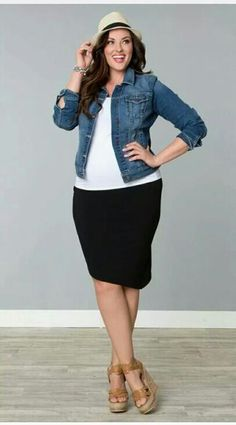 Basics outfit... Black pencil skirt, white tshirt and denim jacket