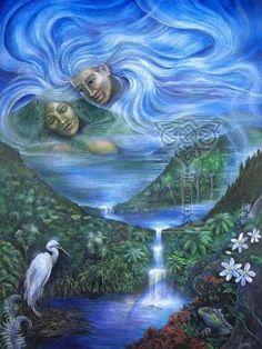 Earth Mother Sky Father, Maori mythic figures: Rangi and Papa Maori Patterns, Maori Designs, New Zealand Art, Nz Art, Maori Art, Mother Goddess, Mystique, Sculpture Art, Ice Sculptures