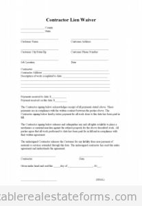 Free Contractor Lien Waiver Printable Real Estate Forms
