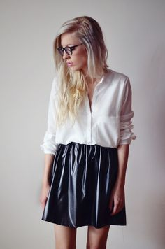white silk shirt & leather skirt
