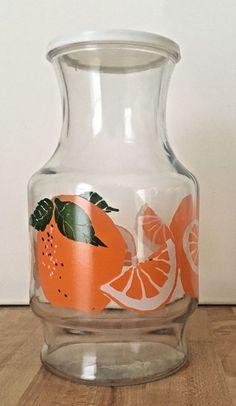 Vintage Anchor Hocking Orange Juice Glass 32 oz Carafe Decanter Pitcher w/ Lid