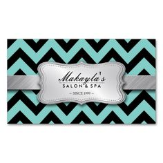 Elegant Teal Blue and Black Chevron Pattern Business Card. Make your own business card with this great design. All you need is to add your info to this template. Click the image to try it out!