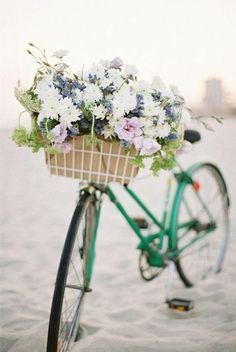 Flowers on the front basket of a bike