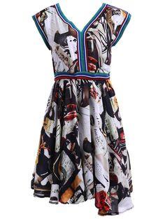 Weekend Casual! V-Neck Short Sleeve Print Asymmetric Dress For Women #Cute #Summer_Dresses
