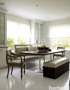 Mix up the seating at your dining table. You wouldn't have eight identical chairs in your living area.