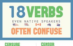 18 Verbs Even Native Speakers Often Confuse (Infographic) English Prepositions, English Idioms, English Words, English Grammar, Spanish Songs, How To Speak Spanish, Learn Spanish, Words To Use, Some Words
